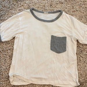 White brandy Melville T-shirt with gray detail